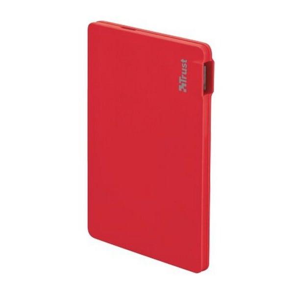 Портативное зарядное устройство (Power Bank) Trust PowerBank 2200T Ultra-thin - red (20913)