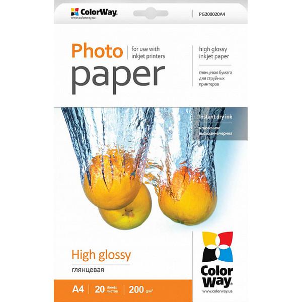 Foto çağız ColorWay Photo paper high glossy 200g/m, A4, 20pc. (PG200020A4)
