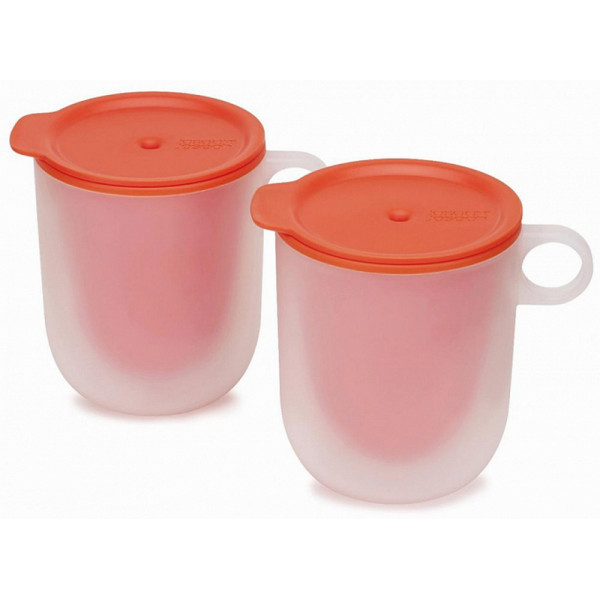 Mikrodalgalı soba üçün ikiqat divarlı fincan d'sti Joseph Joseph M-Cuisine Microwave Cool-Touch Mugs, Set of 2, Orange (45012)