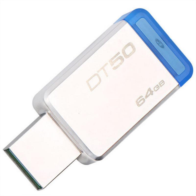 USB-Флешка Kingston 64GB USB 3.0 DataTraveler 50 (Metal/Blue)
