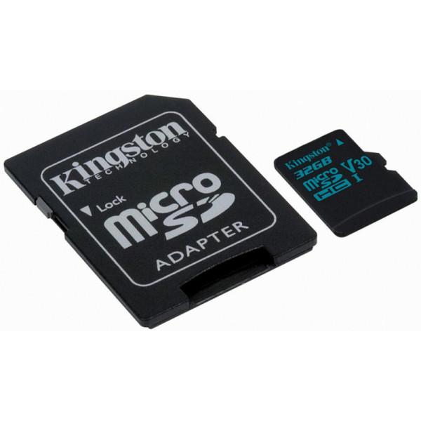 Yaddaş kartı Kingston 32GB microSDHC Canvas Go 90R/45W U3 UHS-I V30 Card + SD Adapter