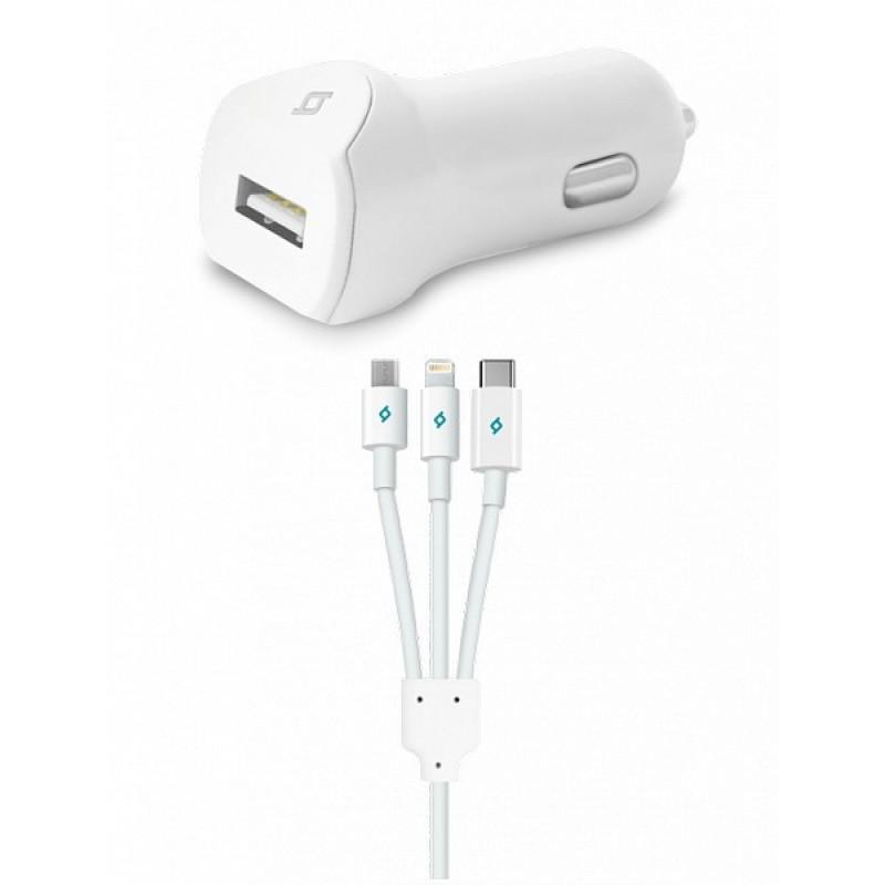 Avtomobil üçün enerji yığma cihazı Ttec Speed Charger USB In-Car Charger, 2.1A, with Trio cable