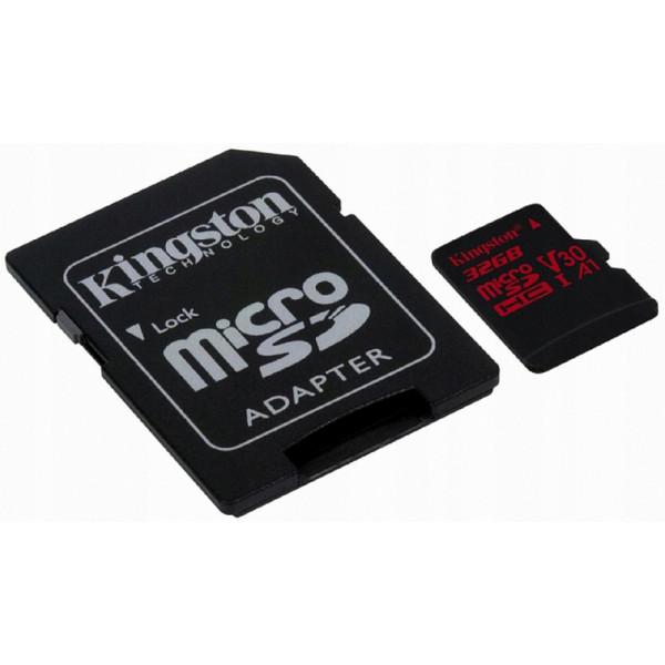 Yaddaş kartı Kingston 32GB microSDHC Canvas React 100R/70W U3 UHS-I V30 A1 + SD Adapter