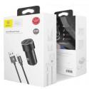 Автомобильное зарядное устройство Baseus Car Charger Small Screw Series 2USB 3.4A + USB-C Cable Black